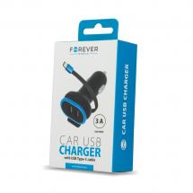 Forever Type C 2xUSB Car Charger